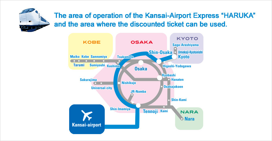 "The area of operation of the Kansai-Airport Express ""HARUKA"" and the area where the discounted ticket can be used."