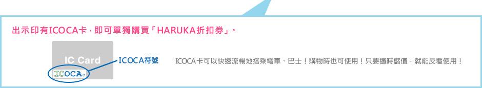 出示印有ICOCA卡,即可單獨購買「HARUKA折扣券」。